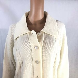 Vintage Sears Womens White Cable Knit Cardigan